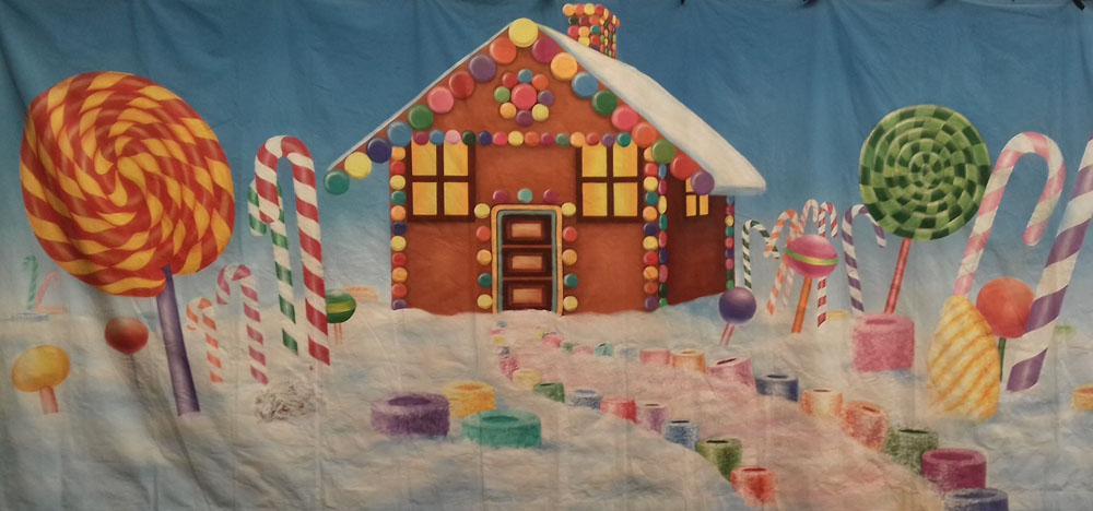 Candy Cane House Backdrop 2.5m x 5.5m