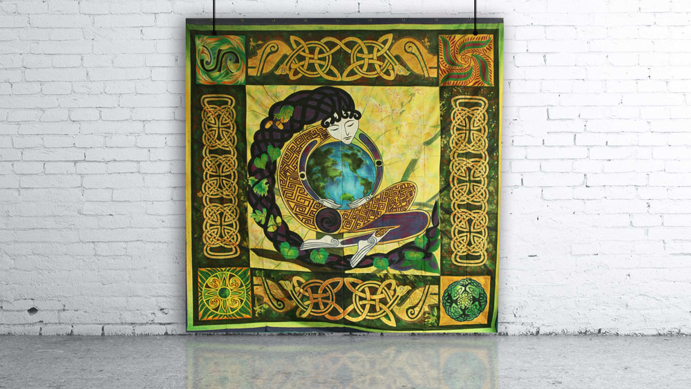 Celtic Yellow, Green & Purple with Earth Design Backdrop
