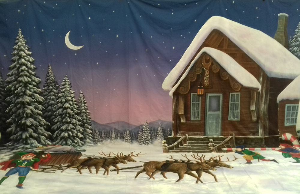Christmas House with Reindeer & Elves Backdrop 5m x 6m