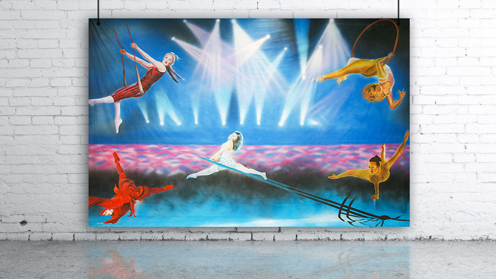 Circus Performers High Wire Acrobats Backdrop