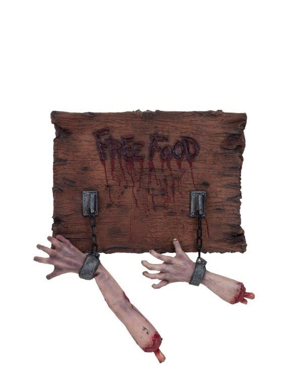 Free Food Sign with Hands in Chains