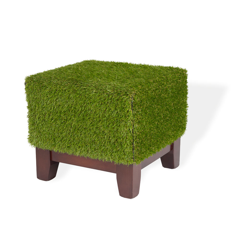 Grass Covered Club Footstool