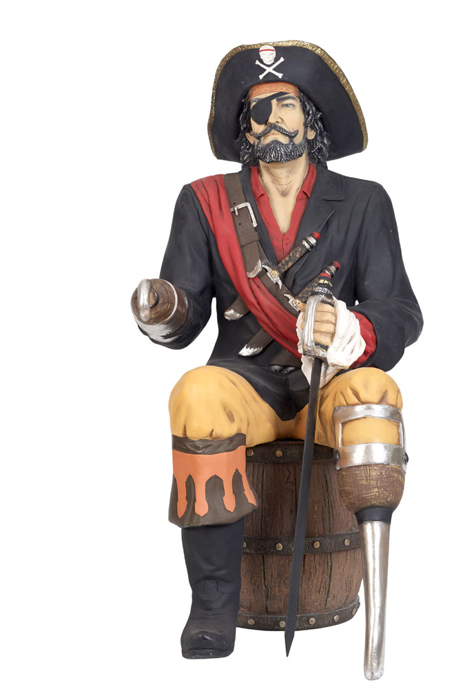 Pirate Captain Sitting On Barrel Life Size Lolliprops