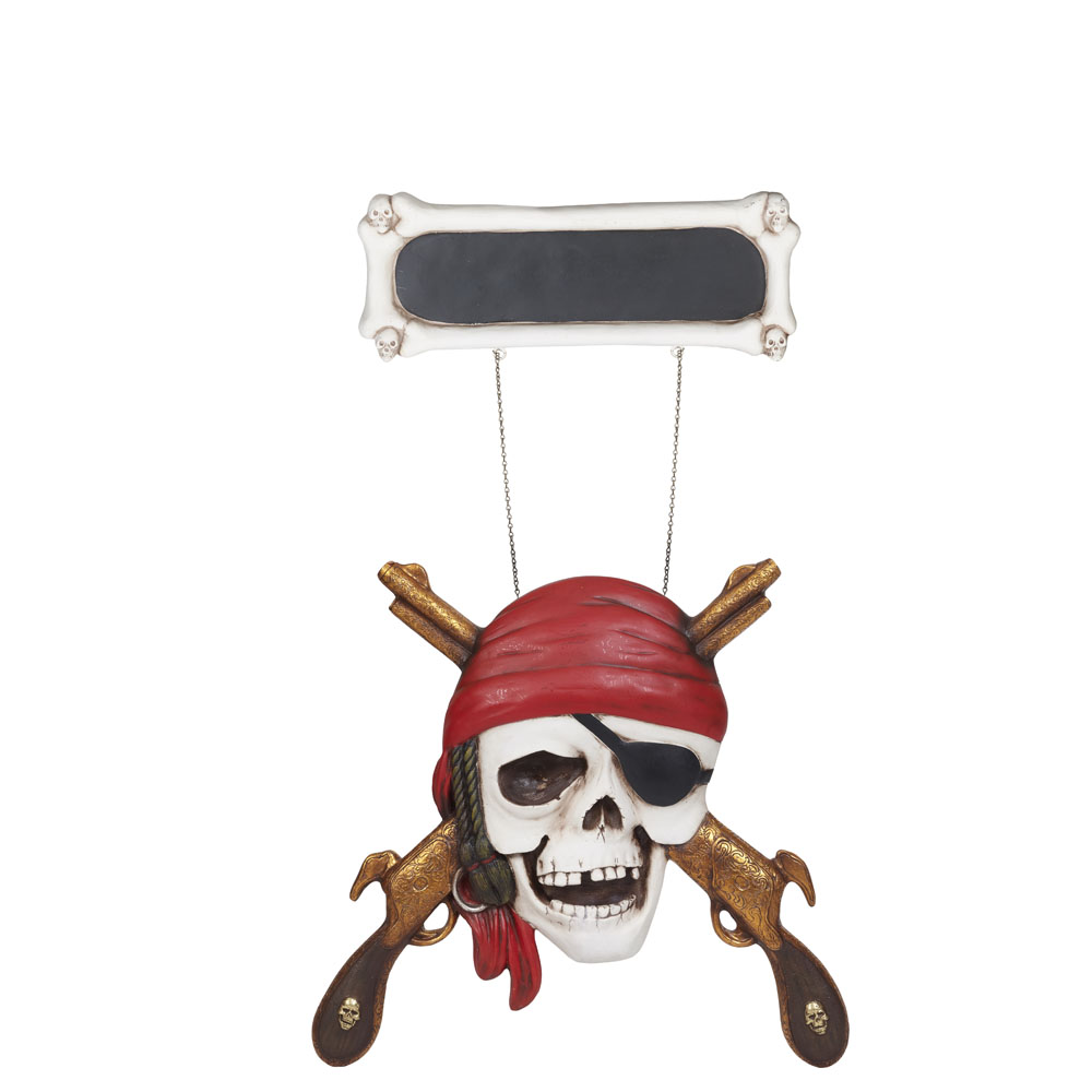 Pirate Skull Blackboard Sign with Guns