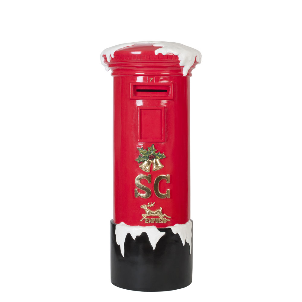 Red Post Box with Snow 1.4m