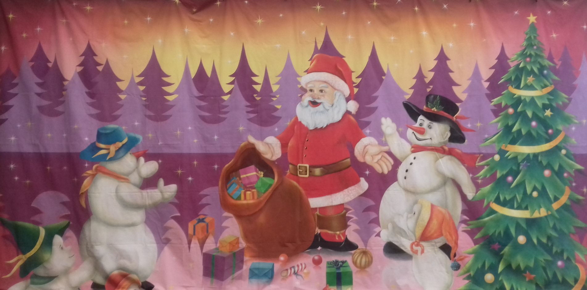 Santa with Presents and Snowman Backdrop 4m x 6m