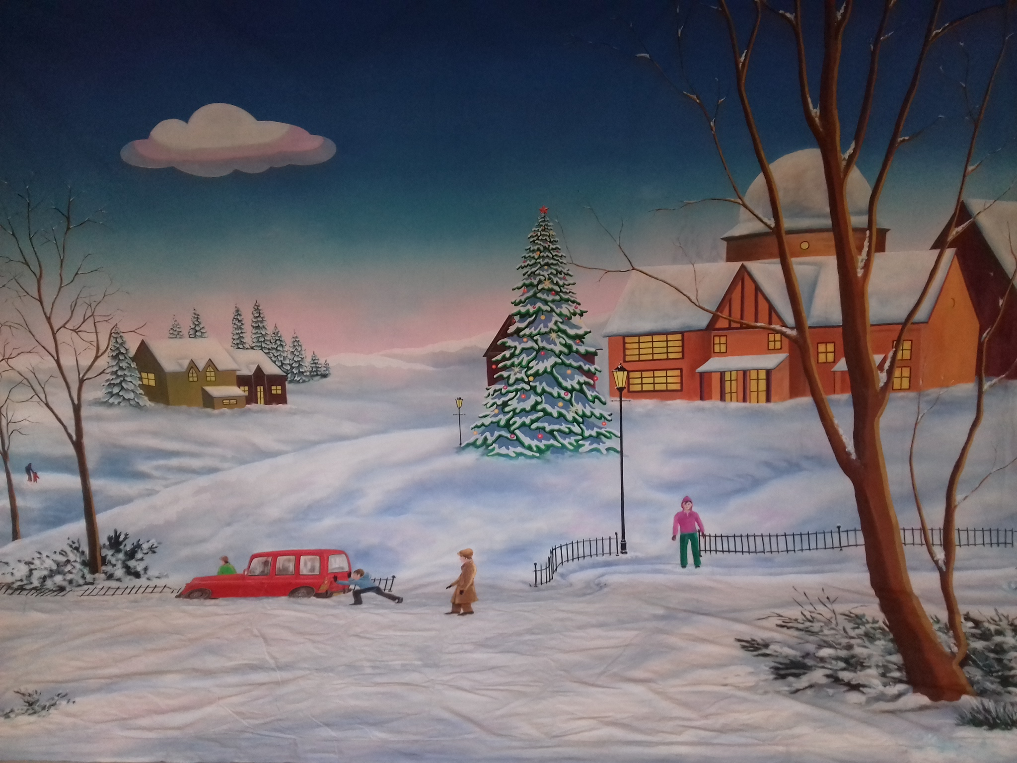 Snow Scene with Red Car Backdrop 4.5m x 7.5m