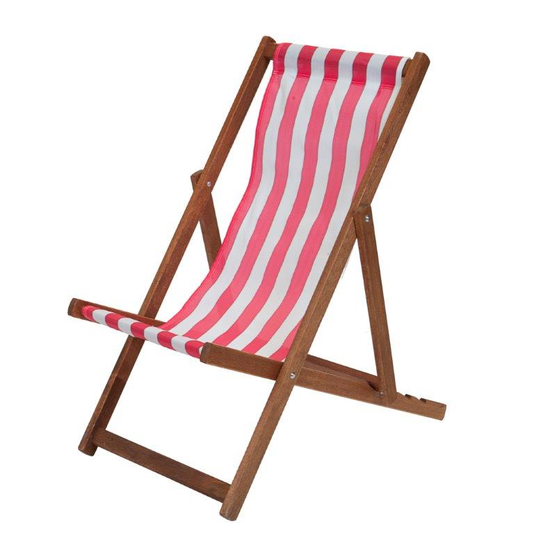 Traditional Wooden Deckchair Red & White