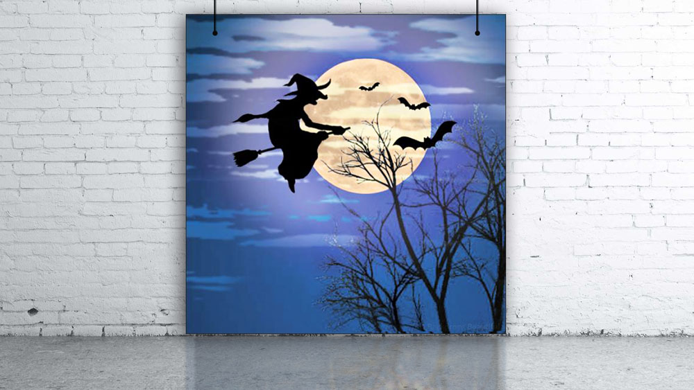 Witch on Broom Backdrop