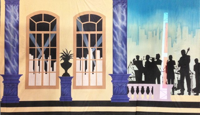 Art Deco Gala Band on left Backdrop 5m x 9m