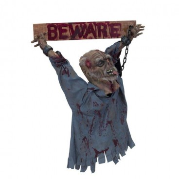 Beware Sign with Grisly Head