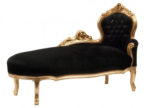 Black Chaise Longue (Gold Leaf Trim)
