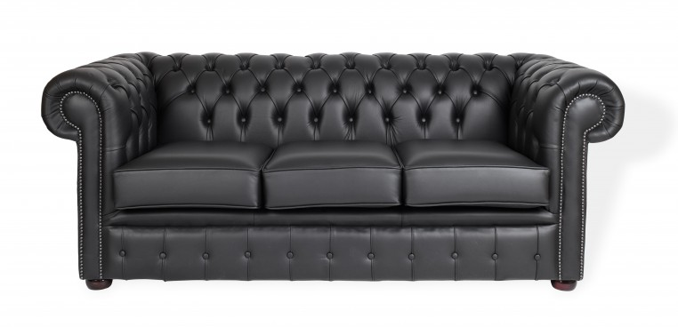 Black Chesterfield Three Seater Sofa