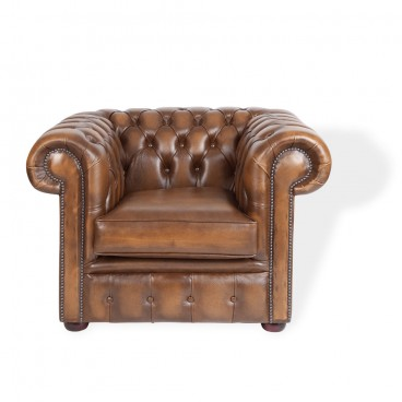 Brown Tan Chesterfield Club Armchair