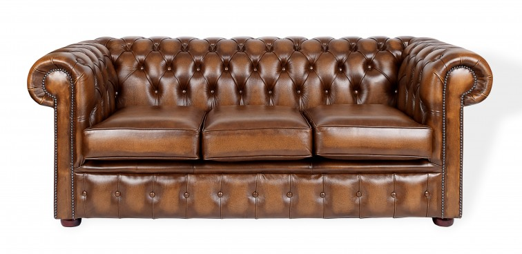 Brown Tan Chesterfield Three Seater Sofa