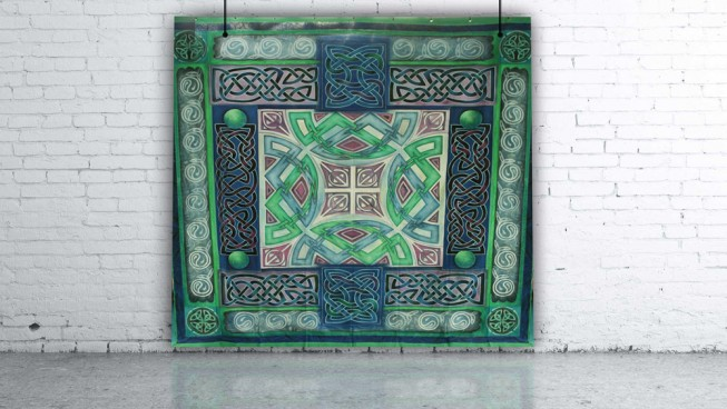 Celtic Green & Purple Square Design Backdrop