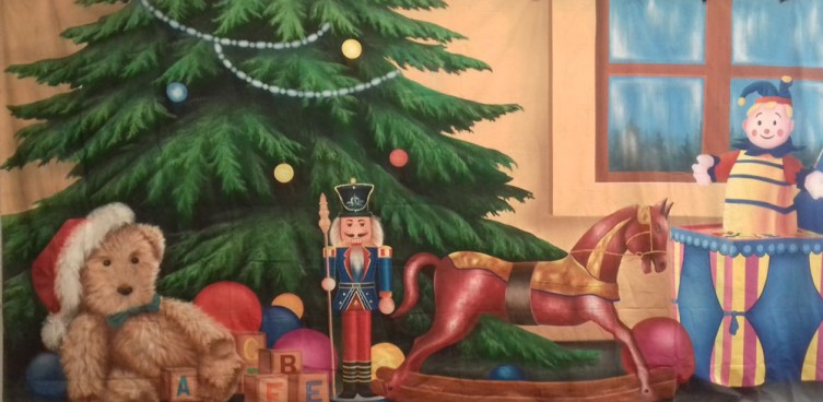 Christmas Living Room with Tree and Rocking Horse Backdrop 3m x 6m