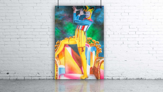 Circus Performer Jester & Throne Backdrop