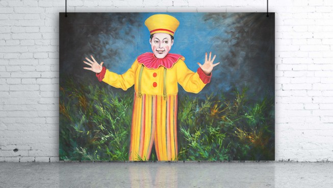 Circus Performer Stilt Man Backdrop