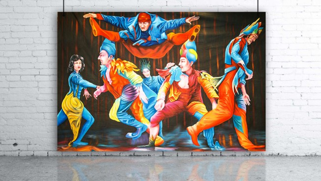 Circus Performers Dancers Backdrop