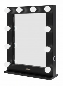 Black Dressing Room Bulb Mirror