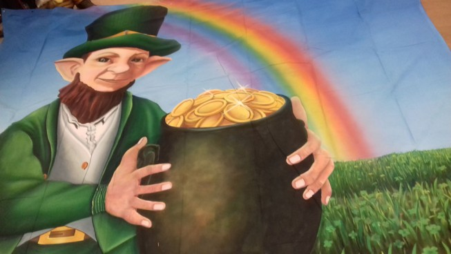 Leprechaun with Crock of Gold & Rainbow Backdrop