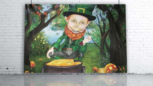 Leprechaun with Crock of Gold in Forest Backdrop
