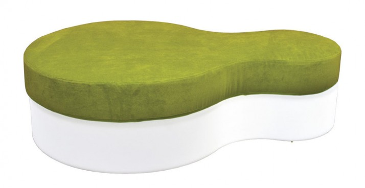 Nuvola Pouf with Green Seat Cushion