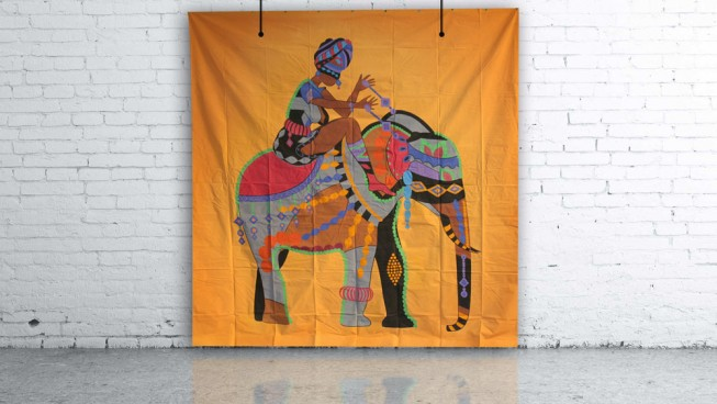 Ornate Indian Elephant Backdrop 3m x 3m