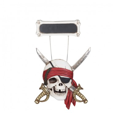 Pirate Skull Blackboard Sign with Sword