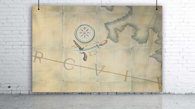 Pirate Treasure Map with Compass & Sword Backdrop