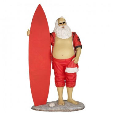 Santa in Shorts with Surf Board
