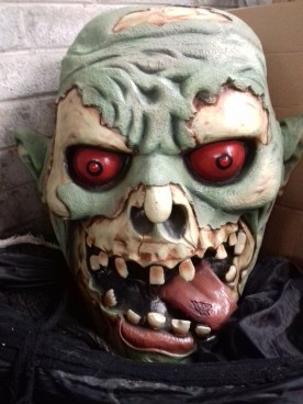 Scary Hanging Ghoul with Green Face & Red Eyes