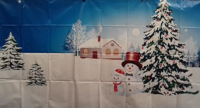 Snow Scene with House & Snowman 2m PVC Backdrop