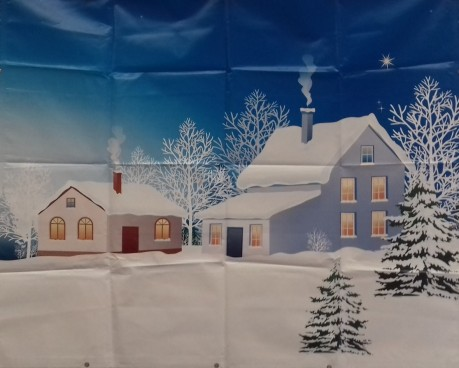 Snow Scene with Houses 2.4m PVC Backdrop