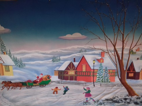 Snow Scene with Santa & Sleigh Backdrop 4.5m x 8m
