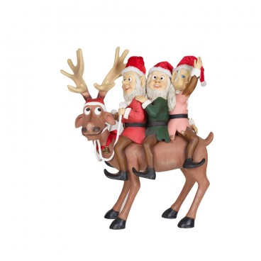 Three Elves on Reindeer