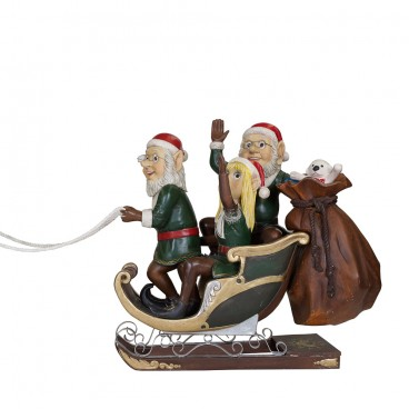 Three Elves on Sleigh with Sack of Presents