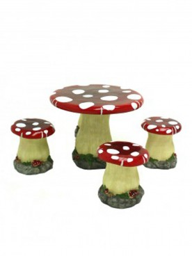 Toadstool Table with Four Stools