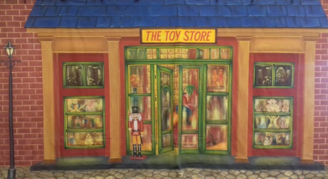 Orange Toy Store Exterior Backdrop 3m x 6m