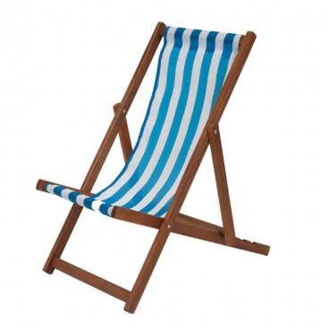 Traditional Wooden Deckchair Blue & White