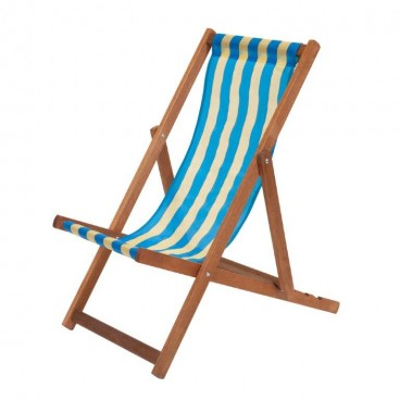 Traditional Wooden Deckchair Blue & Yellow