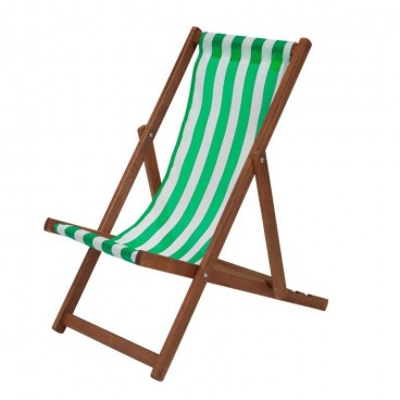 Traditional Wooden Deckchair Green & White