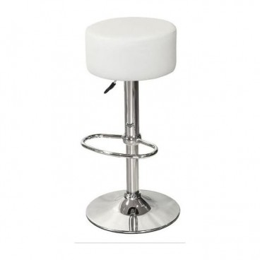 White Button Bar Stool
