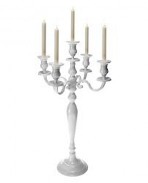 White Candelabra 5 Branch 800mm