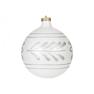 Giant White & Silver Christmas Bauble 400mm