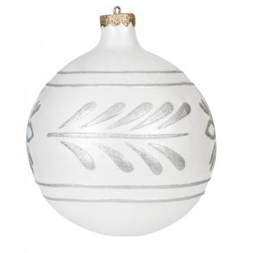 Giant White & Silver Christmas Bauble 610mm
