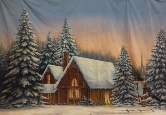 Winter Snow Cabin Backdrop 4m x 5m
