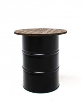 Black Steel Barrel Pod Table