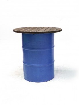 Blue Steel Barrel Pod Table 1m
